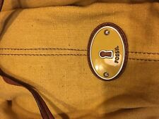 "FOSSIL ""Maddox"" Yellow Canvas Leather Bucket Drawstring Shoulder Tote Purse Bag"