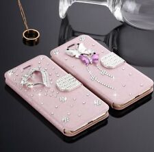 Sparkly Bling Butterfly PU Leather Flip Case Stand Wallet Cover For Apple iPhone