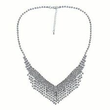 Crystal  Fringe Bib Necklace Clear  Crystal  Sparkle PROM