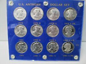 1979 - 1981 US Susan B Anthony 12 Coin Dollar Set