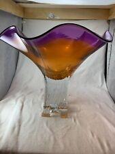 Art Glass Centerpiece Pedestal Purple And Orange Bowl