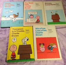 Peanuts Charlie Brown Weekly Reader 5 book lot Snoopy come home Charles Schulz
