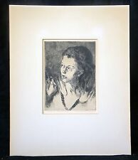 "'40s Russian Black&White Etching Print ""Girl in Doorway"" by Raphael Soyer (Dov)"
