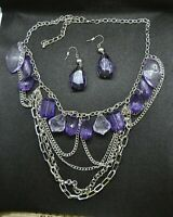 Chain Necklace with Purple Beads and Earrings Set (item #J24)