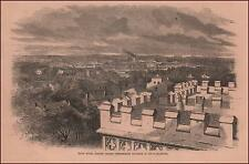 BATON ROUGE, LOUISIANA, View Inland, antique engraving, original 1862