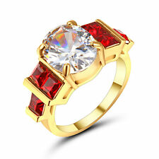 Size 9 Women's White Sapphire Zircon Engagement Ring 10KT Yellow Gold Filled