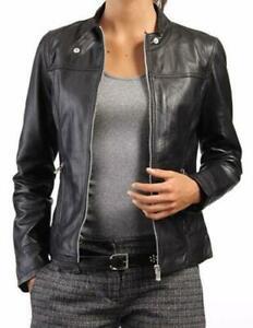 New Women LambSkin Real Leather Jacket Motorcycle Black Slim Fit Biker Jacket