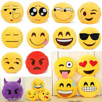 Yellow Round Cushion Soft Emoji Smiley Emoticon Stuffed Plush Toy Doll Pillow E