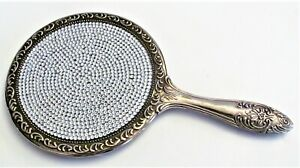 Antique Silver Plate Hand Magic Mirror Covered with 850+ Crystals Rhinestone Art