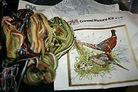 """New Columbia Minerva Pheasant Crewel Stitchery Kit 100% Wool Yarn 16"""" x 16"""" -Z="""