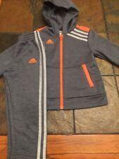 Adidas Toddlers Size 3T Zip Logo Jacket and Pant Set/ Suit Gray & Orange Mint