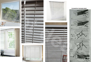 White PVC Venetian Window blind, Embossed Blinds, Trimmable shades,Easy Fit 25mm