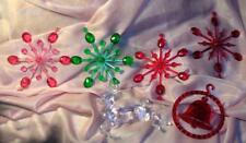 6 VTG 1950'S XMAS ORNAMENTS LUCITE REINDEER, CLEAR PLASTIC ATOMIC SNOWFLAKES