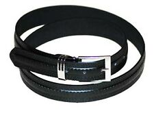 #8340 A BLACK LEATHER DRESS BELT WITH METAL KEEPER AND FANCY DESIGN IN XL