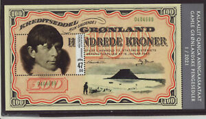 Greenland 2021 MNH - Old Banknotes V - Knut Rasmussen´s Expidition - m/sheet