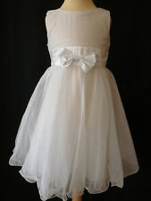 NEW GIRLS WHITE FLOWER WEDDING PARTY DRESS CLOTHES AGE 3 - 4 YEARS UK