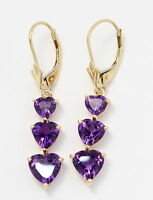 14k Yellow Gold Purple Heart Stone Ladies Drop Hanging Earrings