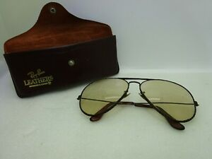 Vintage Ray Ban USA B&L Aviator Leathers 62 14 Sunglasses with Case