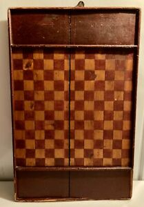 Antique primitive handmade gold and red checkerboard painted game board