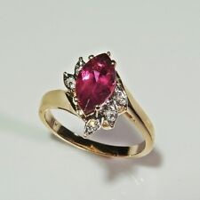 Purple Sapphire Diamond 14K Gold Ring Wedding Anniversary Marquise Engagement