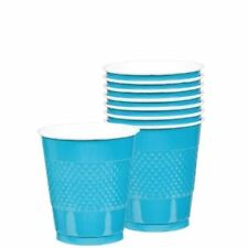20 Bright Blue Plastic Cup 355ml Solid Colour Birthday Party Wedding Tableware