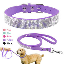 Bling Rhinestone Pet Dog Collar and Leash for Chihuahua Yorkie Suede Leather