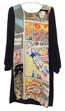 TSUMORI CHISATO Navy Blue Comic Print Silk Dress Sz 2 / US S/M 6/8  Long Sleeved