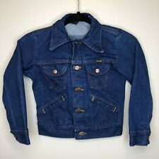 Vintage Wrangler 14 OZ Sanforized Denim Jean Jacket Kids Size 8 Made In USA