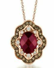 LeVian 14K Rose Gold Rhodolite Garnet Brown Diamond Flower Pendant Necklace