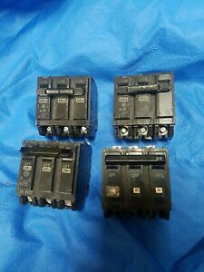 Lot of 4 breakers  GE THQB3120 3 POLE 20 AMP 120/240 VAC BOLT ON CIRCUIT BREAKER