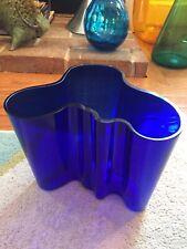 Beautiful Large Alvar Aalto Iittala Finland Cobalt Blue Glass Geometric Vase