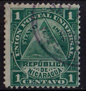NICARAGUA 1882 Triangle with Coat of Arms Sc#13 1C green STAMP