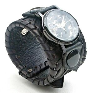 Black Leather Dragon Watch Wrist band Bracelet Steampunk-Mechanical-Handmade UK