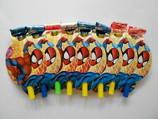 8 x SPIDERMAN BIRTHDAY PARTY BLOWERS BLOWOUTS HORNS