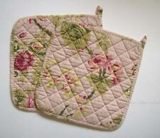 Set of 2 Great Finds ROSIE Pink Floral Quilted Cotton Pot Holders
