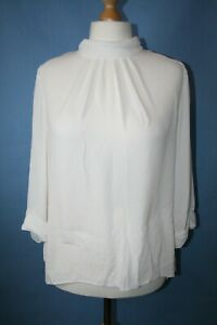 BNWT SIZE 18 DOROTHY PERKINS IVORY HIGH NECK TUNIC WITH BACK TIE NECK B116