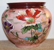 ancien vase en opaline a décor de fleurs