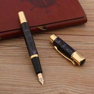 classic METAL Ice flower purple golden Fountain Pen Stationery Office School