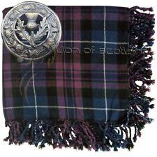 "Kilt Fly Plaid Pride of Scotland Tartan Acrylic 48"" x 48"" Thistle Brooch Antique"