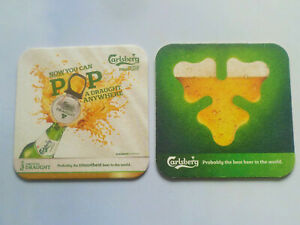"""1 pc. of Carlsberg """" Now You Can POP A Draught Anywhere """" Coaster Beer Mat (#33)"""