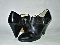 Michael Kors Black Leather Zip-up Buckle Cone-Heel Ankle Booties Size 7M/37 GUC