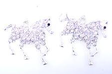 Silver tone clear crystal pony / horse dangle earrings