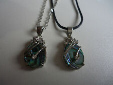 Natural Abalone Paua Shell Pendant with Rhinestones Free Necklace & Pouch(E001)