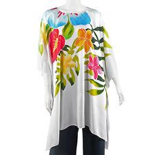 white caftan tunic Rayon batik Floral Printed Kaftan s m l xl 1x 2x 3x 4x  os