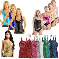 Women's Tops Sleeveless Tank Tops Shiny Metallic Crop Top Cami Tank Vest Blouse