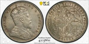 Straits Settlements Edward VII silver dollar 1908 about uncirculated PCGS AU55