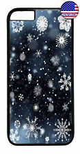 Merry Christmas Snow Flakes Rubber Case Cover iPhone 11 Pro Max Xs XR 8 Plus 7
