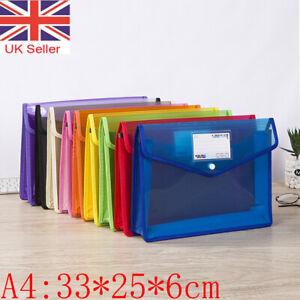 A4 Plastic Wallet Stud Document File Folder School Office Paper Storage Bags UK