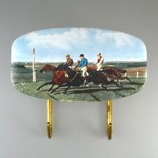 Vintage French Key Rack, Racehorses, Jockeys, Stamped