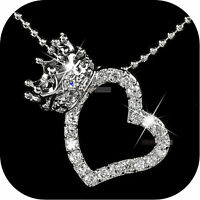 18K WHITE GOLD GP MADE WITH SWAROVSKI CRYSTAL LOVE HEART CROWN PENDANT NECKLACE
